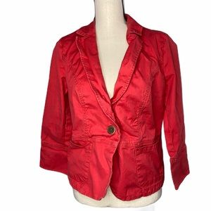 CAbi Bright Red Canvas Jacket